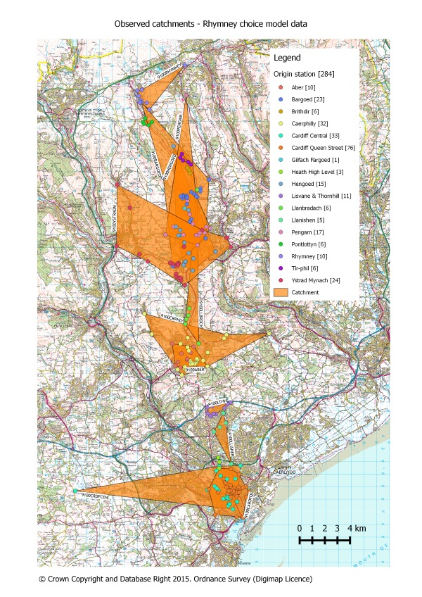 Observed catchments generated for stations on the Rhymney line in South Wales